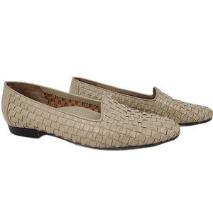 Trotters Liz Leather Woven Slip-on Bone Loafer